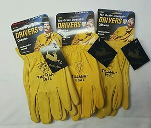 Tillman 864 L Drivers Work Gloves Top Grain Deer Skin 3 Pair