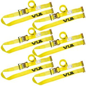 Vulcan Logistic Strap For E Track Ratchet Style 12 Yellow 6 Pack