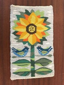 Sunflower Tapestry Textile Wall Hanging Evelyn Ackerman Era Mid Century Modern