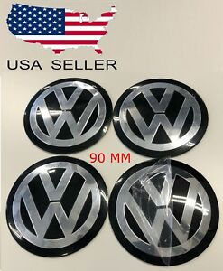 4 Pcs Black 90mm 3 5 Center Caps Decals Emblem Stickers For Volkwagen Usa Vw