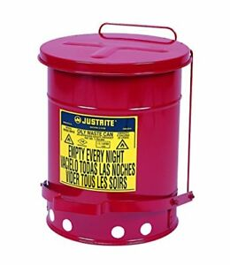 Justrite J09100 09100 Galvanized steel Safety Cans For Oily Waste Red F