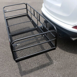 Portable Folding 60 Steel Hitch mount Cargo Carrier Mounted Basket Luggage Rack