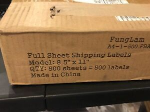 Full Sheet Shipping Labels 8 5 X 11 Approx 500 Sheets Same Day Fast Free Shippin