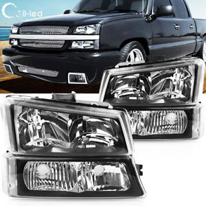 For 2003 2006 Chevy Silverado Black Housing Headlights clear Lens signal Lights