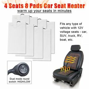 Car Heated Seat Kit 4 Seats Install Round Switch Seat Fit All 12v Cars
