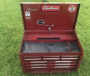 Vintage Snap On Tools 9 Drawer Tool Box Top Chest Red Kra59a W Key