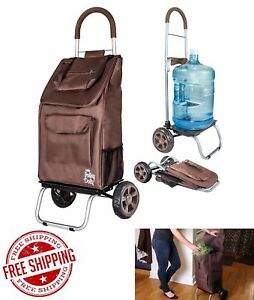 Trolley Dolly Cart Rolling Shopping Grocery Foldable Utility Storage Rack Brown