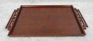Antique Chinese Rosewood Tea Tray Serving Tray C 1900 1940 Ornate Carved Handles