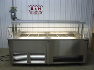 2017 Amtekco Stainless Island Salad Bar Refrigerated Cold Well Buffet Table