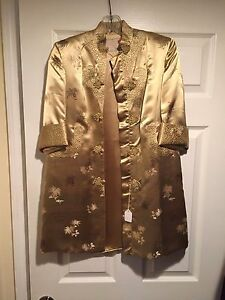Chinese Golden Peony Hand Embroidered Lined Silk Robe Silk Nightgown Size 8