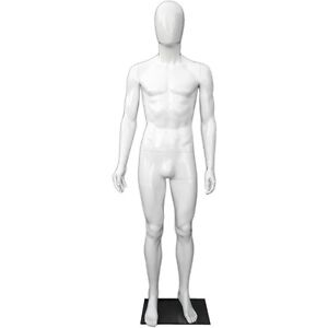 Mn 439 Glossy White Plastic Egghead Male Full Size Mannequin With Removable Head