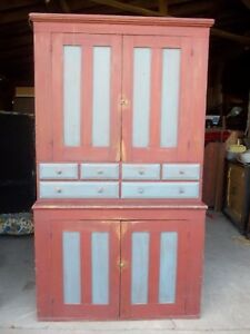 Antique Early 19th Century Paneled Door Stepback Apothecary Cupboard
