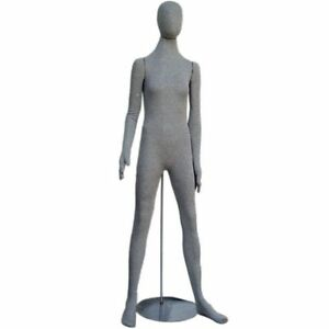 Mn 402 Grey Soft Flexible Bendable Posable Egghead Female Body Mannequin Form