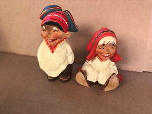 2 Henning Hand Carved Troll Couple Man Woman Wooden Figures