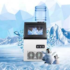 Ac110v Auto Commercial Ice Maker Cube Machine 50kg Stainless Steel Bar 330w