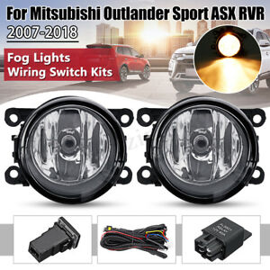 2x Front Fog Light Lamps Switch Wire Kit For Mitsubishi Outlander Sport Rvr Asx