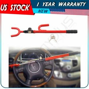 Steering Wheel Lock Heavy Duty Auto Anti Theft Device Extra Secure Red