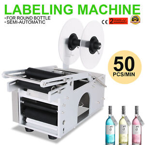 Mt 50 Semi automatic Round Bottle Labeling Machine Labeler Electric Date Printer
