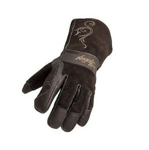 Angelfire Stick mig Welding Gloves Black With Beige Flourish Size Small