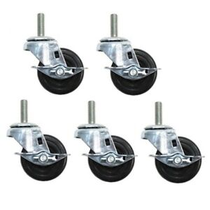 Five Swivel Stem Casters 3 X 1 1 4 Wheels 1 2 Threaded Stems W Brakes