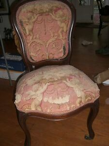Antique Parlor Chair Pair 1800 S Victorian Side Chair Rococo Revival