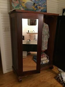 Vintage Armoire Wardrobe Cabinet With Mirror 1930 S