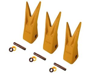 3 Excavator Bucket Tiger Rock Teeth W Pins Fits Cat J250 Series 1u 3252wtl
