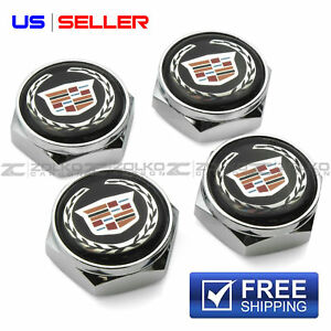 License Plate Bolts Screws Frame Caps Chrome For Cadillac Us Seller