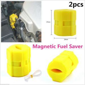 2pcs Universal Car Magnetic Fuel Saver For Vehicle Gas Reduce Emission Abs