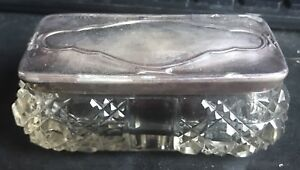 Sterling Silver Samuel L Levi Cut Glass Dresser Powder Vanity Jar
