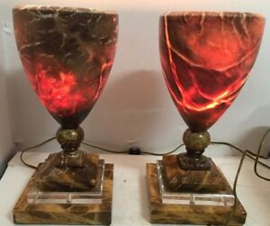 Vintage Pair Of Marble Table Lamps Glowing 15 H Heavy Unique
