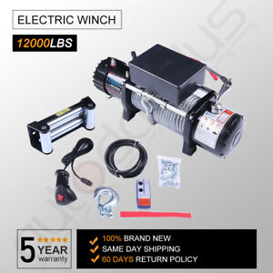 12v 12000lbs Electric Winch Towing Truck Trailer Steel Cable Off Road For Jeep