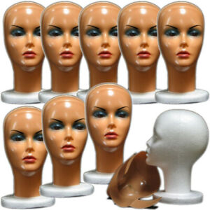 Mn 316 box Of 9 Pcs Female Styrofoam Head With Removable Painted Mask