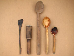 Antique Primitive Wooden Kitchen Tools Hand Made Spoons Paddles Lot Early 20th