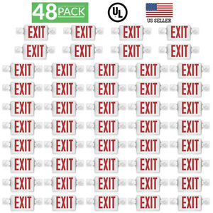 Sunco 48 Pack Emergency Exit Sign Single double Face Led W 2 Head Lights Ul