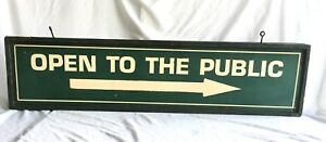Vintage Wooden open To The Public Sign Mid Century