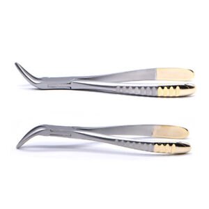 2x Dental Mandibular Root Fragment Mini Invasive Tooth Extraction Forcep Curved