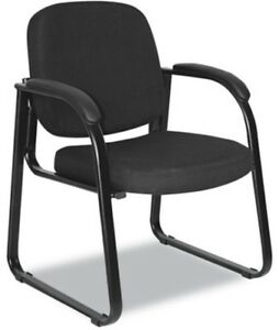 Black Fabric Reception Sled Heavy Duty Guest Lobby Chair Solid Visitor Chairs