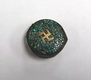 Antique Whirling Log India Turquoise Brass Box Good Luck Pill Container Vintage