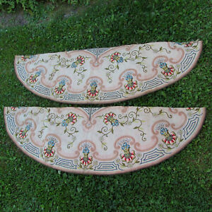 Pair 19thc Embroidered Silk Vestment Tablecloth Fragments