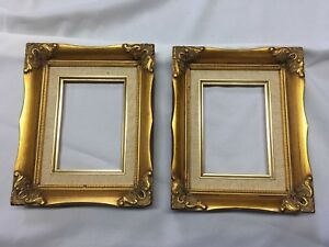 Pair Of Vintage Wood Ornate Gold Picture Frames 9 X 11 Fits 5 X 7