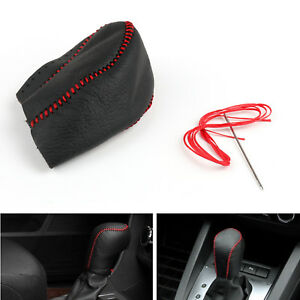 Genuine Leather Gear Shift Knob Cover Automatic For Toyota Reiz 2005 2009 Blk B1