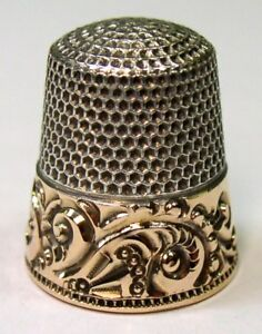 Antique Ketcham Mcdougall Gold Band Sterling Silver Thimble L M W Monogram