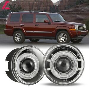 For Jeep Commander 06 10 Clear Lens Pair Bumper Fog Light Lamp Halo Projector