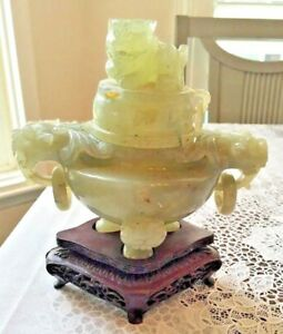 Antique Carved Jade Censer Incense Burner Dragon And Dog