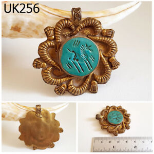 Old Medusa Snake Turquoise With Horse Intaglio Gold Plated Pendant Uk256a