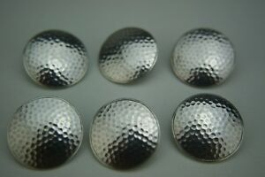 Antique Large Sterling Silver Set Of 6 Golf Ball Buttons Birmingham 1904