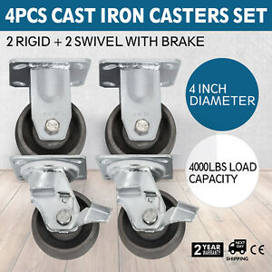 Casters 4 Heavy Duty Cast Iron Hub Core Poly Wheel Non Skid 2 Brakes 2 Rigid