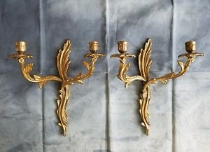 Vintage Pair Brass Gold Gilt Louis Xv Style Two Candle Sconces