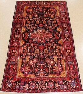 Persian Nahavand Tribal Hand Knotted Wool Black Red Blue Oriental Rug 5 7 X 9 2